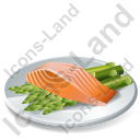 Dish Fish Salmon Steak Baked Icon