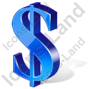 Dollar 3D Blue Icon, PNG/ICO, 128x128