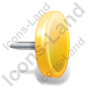 Drawing Pin 4 Yellow Icon, PNG/ICO, 128x128