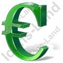 Euro 3D Green Icon, PNG/ICO, 128x128