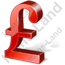 Pound Sterling 3D Red Icon, PNG/ICO, 128x128
