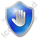 Stop Shield Blue Icon, PNG/ICO, 128x128
