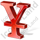 Yen 3D Red Icon, PNG/ICO, 128x128