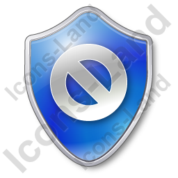 Cancel Shield Blue Icon, PNG/ICO, 256x256