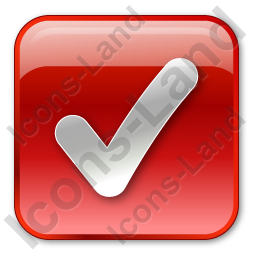 Checked Box Red Icon, PNG/ICO, 256x256
