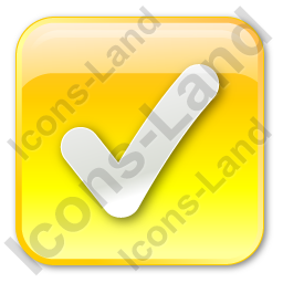 Checked Box Yellow Icon, PNG/ICO, 256x256