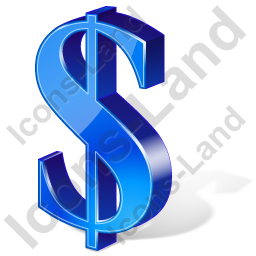 Dollar 3D Blue Icon, PNG/ICO, 256x256