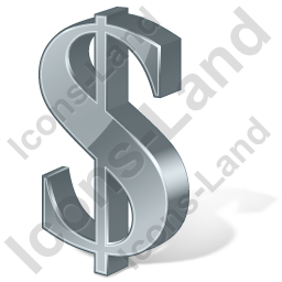 Dollar 3D Grey Icon, PNG/ICO, 256x256