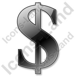 Dollar Black Icon, PNG/ICO, 256x256