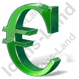 Euro 3D Green Icon, PNG/ICO, 256x256