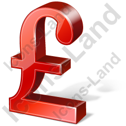 Pound Sterling 3D Red Icon, PNG/ICO, 256x256