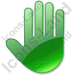 Stop Hand Green Icon, PNG/ICO, 256x256