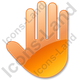 Stop Hand Orange Icon, PNG/ICO, 256x256