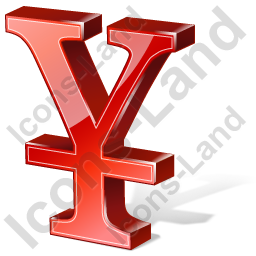 Yen 3D Red Icon, PNG/ICO, 256x256