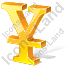 Yen 3D Yellow Icon, PNG/ICO, 256x256