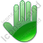 Stop Hand Green Icon, PNG/ICO, 48x48
