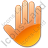 Stop Hand Orange Icon, PNG/ICO, 48x48