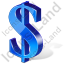 Dollar 3D Blue Icon, PNG/ICO, 64x64