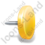 Drawing Pin 4 Yellow Icon, PNG/ICO, 64x64