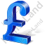 Pound Sterling 3D Blue Icon