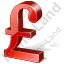 Pound Sterling 3D Red Icon, PNG/ICO, 64x64