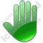 Stop Hand Green Icon, PNG/ICO, 64x64