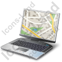 Portable Computer Map Icon, PNG/ICO, 128x128