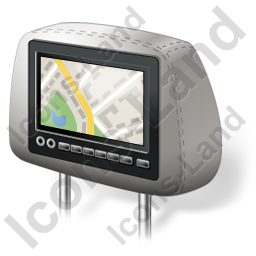 Car Headrest Monitor Map Icon, AI, 256x256