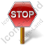 Stop Sign Post Icon, PNG/ICO, 64x64