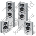 Home Theater System Speakers Icon, PNG/ICO, 128x128