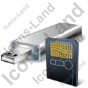 USB Flash Card Card Reader Card Icon, PNG/ICO, 128x128