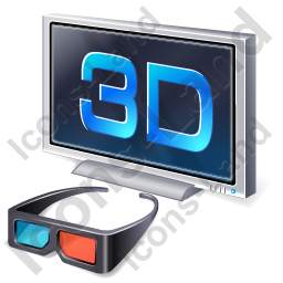 3D Display Glasses Icon, PNG/ICO, 256x256