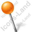 Map Marker Ball Left Orange Icon, PNG/ICO, 128x128