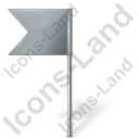 Map Marker Flag 4 Left Grey Icon, PNG/ICO, 128x128
