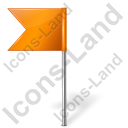 Map Marker Flag 4 Left Orange Icon