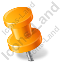 Map Marker Push Pin 2 Left Orange Icon