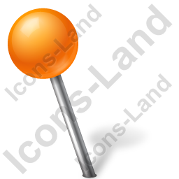 Map Marker Ball Left Orange Icon, PNG/ICO, 256x256