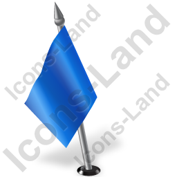 Map Marker Flag 2 Left Blue Icon, PNG/ICO, 256x256