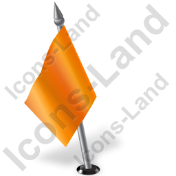 Map Marker Flag 2 Left Orange Icon