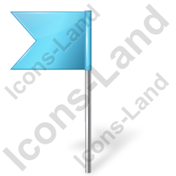 Map Marker Flag 4 Left Azure Icon, PNG/ICO, 256x256