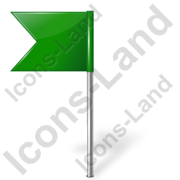 Map Marker Flag 4 Left Green Icon