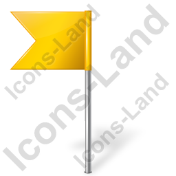 Map Marker Flag 4 Left Yellow Icon