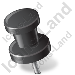 Map Marker Push Pin 2 Left Black Icon, PNG/ICO, 256x256