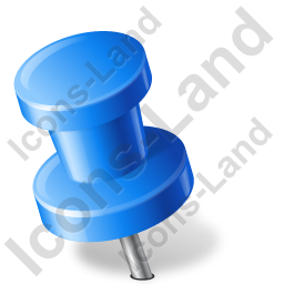 Map Marker Push Pin 2 Left Blue Icon, PNG/ICO, 256x256