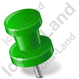 Map Marker Push Pin 2 Left Green Icon, PNG/ICO, 256x256