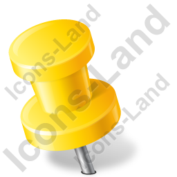Map Marker Push Pin 2 Left Yellow Icon