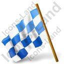 Map Marker Chequered Flag Left Blue Icon, PNG/ICO, 128x128
