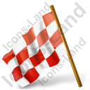 Map Marker Chequered Flag Left Red Icon