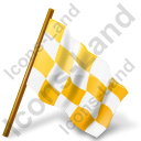 Map Marker Chequered Flag Right Yellow Icon