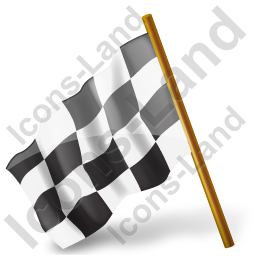 Map Marker Chequered Flag Left Black Icon